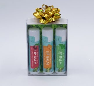 box set of three organic lip balms
