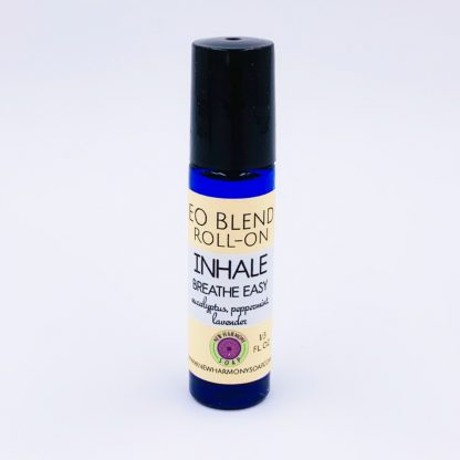 roll-on bottle with essential oil blend to relieve stuffy nose and chest congestion